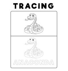 Funny anaconda snake animal tracing book with vector