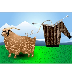 Fur goat and knitting vector