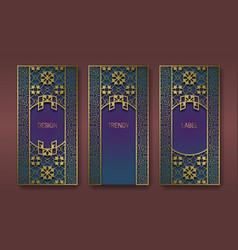 Golden ornate packaging design set labels vector