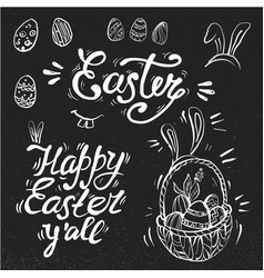 Hand written easter phrases greeting card text vector