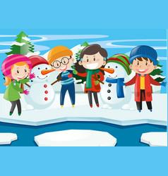 happy children with snowman in winter vector image