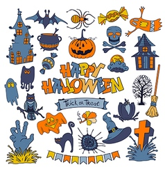 happy halloween icons set with various elements vector image