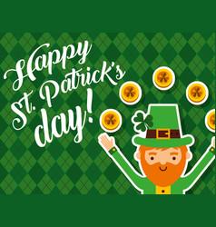 happy leprechaun golden coins lucky happy st vector image