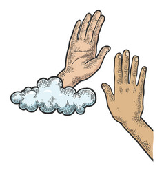High five with god engraving vector