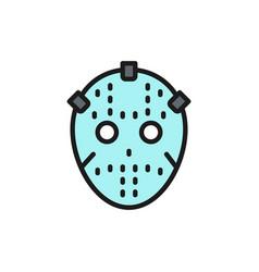 Hockey goalkeeper mask protection uniform flat vector