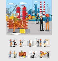industrial building workers characters set vector image