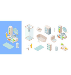 Isometric bathroom set controlled shower washing vector
