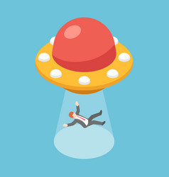 isometric businessman abducted ufo vector image