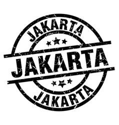 jakarta black round grunge stamp vector image vector image