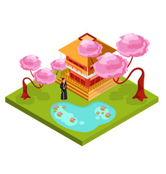 japan isometric composition background vector image