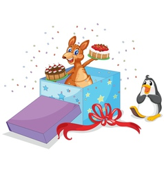 Kangaroo and penguin vector image