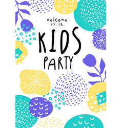 Kids party colorful template with date vector
