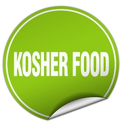 Kosher food round green sticker isolated on white vector