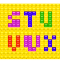 Lego blocks alphabet 4 vector