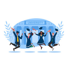 male and female university graduates in black vector image