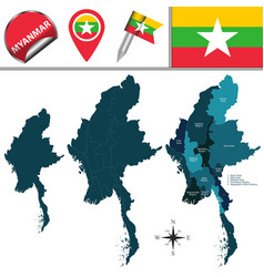 Map myanmar with divisions vector
