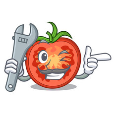 Mechanic red tomato slices isolated on mascot vector