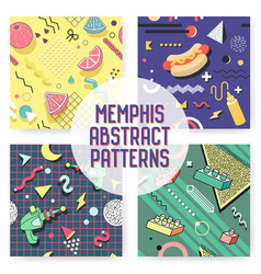 Memphis seamless pattern set abstract trendy vector