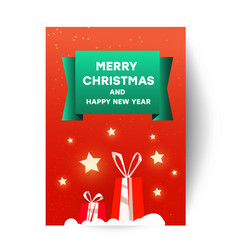 merry christmas greetings card template with vector image