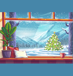 Mountain and christmas tree view through window vector