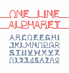 One line alphabet and numbers one single vector