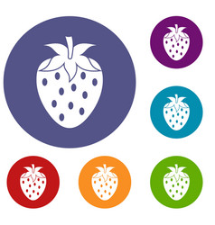 One strawberry berry icons set vector