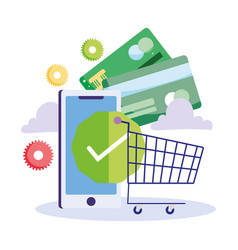 Online payment smartphone bank cards shopping vector