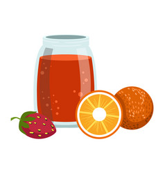 Orange and strawberry smoothie non-alcoholic vector