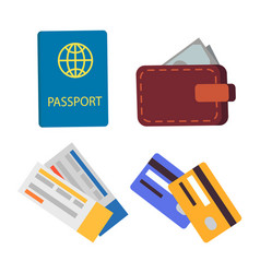 passport and globe sign set vector image