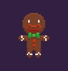 Pixel gingerbread man vector