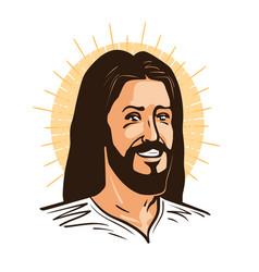 Portrait happy jesus christ messiah god vector