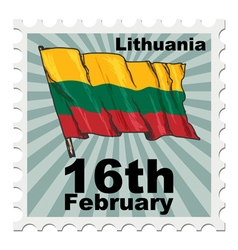 post stamp of national day of Lithuania vector image