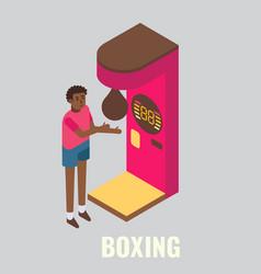 Punching boxing arcade machine isometric vector