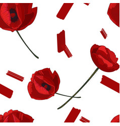 red poppy flowers and paint smears seamless vector image