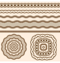 ribbons and rosettes of lace seamless band vector image