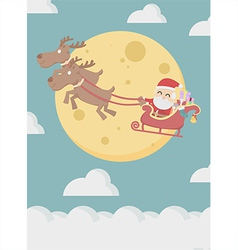 Santa Claus with reindeer fly over the cloud vector image