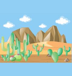 Scene with cactus on desert vector