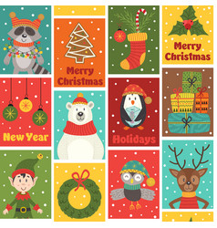 seamless pattern with winter holiday characters vector image