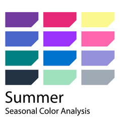 Seasonal color analysis palette for summer type vector
