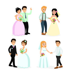 set happy cute wedding vector image