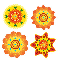 Set hindu flowers decoration and tradition vector