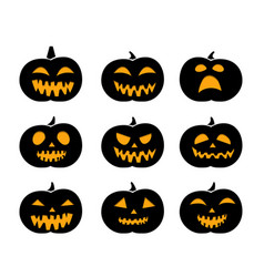 Set of black silhouette pumpkins vector
