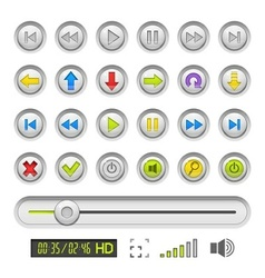 Set of buttons for media vector