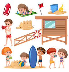 set of children at the beach vector image