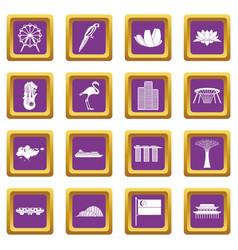 Singapore icons set purple vector