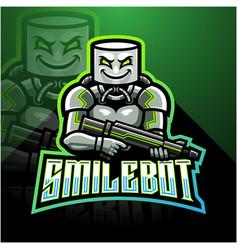 Smile robot esport mascot logo design vector