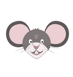 smiling rat or mouse face icon isolated on white vector image