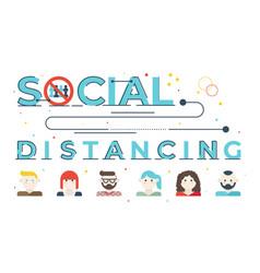 Social distancing word lettering vector