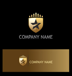 Star shield gold company logo vector