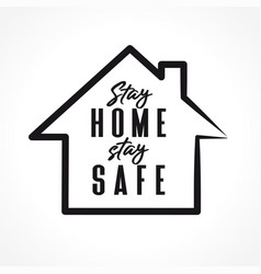 Stay home line design vector